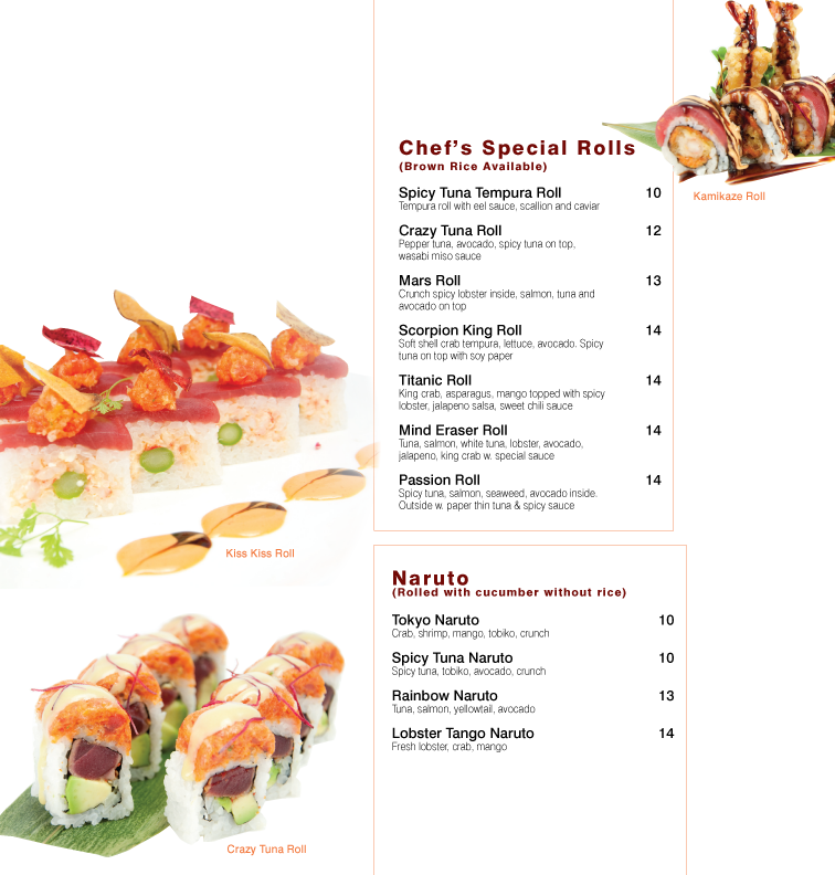 Menu of Water Moon Sushi Bar & Asian Bistro   Voted the best